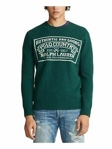 RALPH LAUREN Mens Green Logo Graphic Long Sleeve Classic Fit Sweater XL