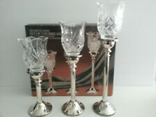 Paul Revere Silversmiths silver plated 24% lead crystal Hurricane Candle Holder