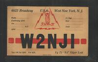 1930s W2NJI QSL CARD WEST NEW YORK NJ USA
