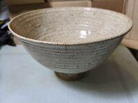 Vintage Stoneware Studio Pottery Pedestal Fruit Bowl