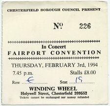 Fairport Convention Winding Wheel, Chesterfield 3/2/94 Ticket