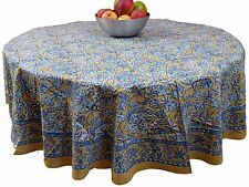 "Handmade Floral Berry Print 100% Cotton Tablecloth 72"" inches Round"