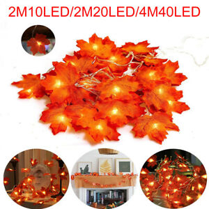 2-4M Fall Maple Leaves LED Fairy String Light Leaf Lamp Garland Party Home Decor