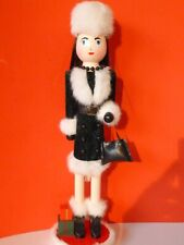 """CHRISTMAS HOLIDAY LADY SHOPPER NUTCRACKER WITH WHITE FUR HAT-15"""""""
