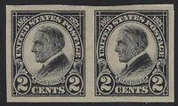 US Stamps - Scott # 611 - 2c Harding Imperf - Pair - MNH                 (H-380)