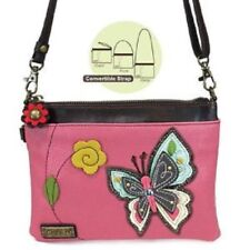 New Chala Mini Crossbody Bag Pleather Small Purse Convertible BUTTERFLY Pink