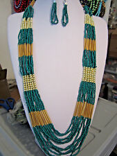 Gold Tone Bead LonG NecklacE earring Multi Layers Green Glass Seed Bead