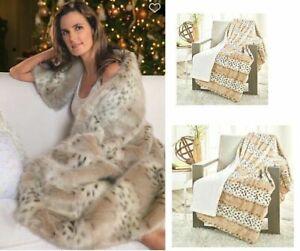 """Concierge Collection Faux Fur Throw Plush Blanket ARCTIC LEOPARD 50 x 60"""""""
