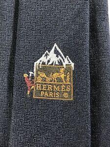 """Hermes Tie 339260T Dark Blue """"Let it snow"""" 100% Silk Tie New in box"""