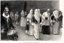 MESSINA: Processione Corpus Domini.Costumi.Sicilia.PASSEPARTOUT.CERTIFICATO.1895