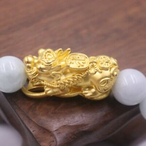 Pure 24K Yellow Gold Big Coin-Pixiu Bead with Natural 10MM Jadeite Bead Bracelet