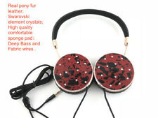 Blingustyle Real Fur Leather Crystal Design Fashion Foldable Ear-Cup headphone