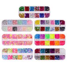 12x DIY Crafts Nail Colorful Flakes Nails Kits Art Supplies Decals Decoration