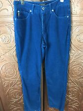 Women's Guess Blue Corduroy Pants Size 28. Funky Hip Retro Look.