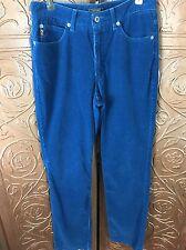 Women's Guess Blue Corduroy Pants Size 28. Funky Hip Retro Look.