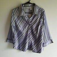 Fashion Bug Women's Plus Size XL Purple 3/4 Sleeve Button Up Shirt Stripe