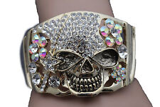 Women Gold Metal Cuff Bracelet Fashion Pirate Skeleton Skull Halloween Jewelry