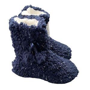 Cozy Corner Sherpa Lined Slipper Booties Blue Pom Poms Womens Small Medium 6-7.5
