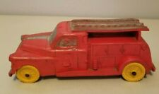 Auburn Rubber Telephone Truck Vintage Red with Yellow Wheels 1950