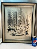 Vtg John Haymson MICHIGAN BOULEVARD Chicago Watercolor Print Shadowbox framed