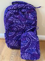 VERA BRADLEY Essential Large Backpack PAISLEY AMETHYST  Laptop Lunch Bunch NWT