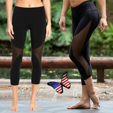 FITTOO Women's' Sports Mesh Leggings 3/4 Cropped Pants Stretch Yoga Trousers AU