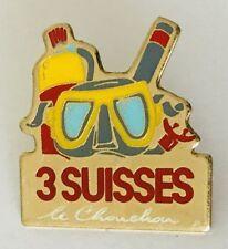 3 Suisses Scuba Diving Mask & Snorkel Lapel Pin Badge Brooch Vintage (C7)