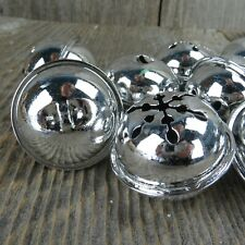 Sleigh Jingle Bells Silver Round Snowflake Christmas Craft Bells Set of 9 Embell