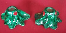 Vintage Candle Holders - Holly Leaves with Berries - Retro nice