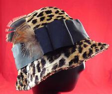 Vintage 1960s Mod Faux Leopard Fur Print Feather Trim Womens Cloche Bucket Hat