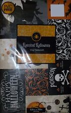 "HALLOWEEN TABLECLOTH 52 x 70"" RECTANGULAR WITCH HAUNTED HOUSE BLACK CAT VINYL"