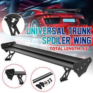 135cm No Drill Universal Gt Rear Trunk Double Deck Racing Spoiler Aluminum Wing