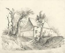 Casa di Campagna - Paesaggio - Disegno Originale a matita su carta 1800
