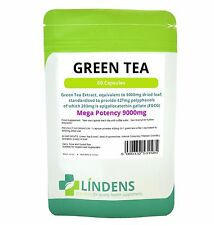 GREEN TEA TABLETS EXTRACT eq 9000mg; 203mg EGCG (60 vegetarian capsules) UK MADE
