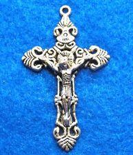 25Pcs. WHOLESALE Tibetan Silver Large CRUCIFIX Cross Pendants Charms Q0617