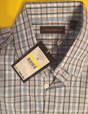 Joseph Abboud Mens Gray/Cream Checks Cotton Button-Front Shirt NWT $98 * M