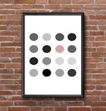 GEOMETRIC MONOCHROME PINK CIRCLES MODERN PRINT PICTURE POSTER WALL ART