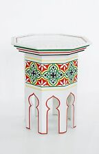 HAND Painted Marocchino a forma ottagonale BIANCO SIDE TABLE