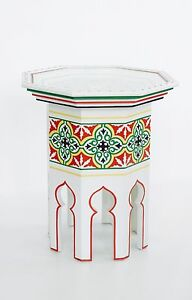 Hand Painted Moroccanoctagonal shaped white side table