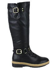 NEW Black KNEE HIGH FLAT Buckle Zipper RIDING BIKER TALL BOOTS Faux Leather 6