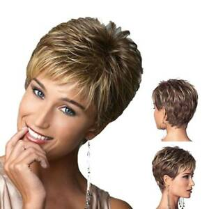 Ladies Wigs Brown+Golden Wig Wigs Party Women Short Natural Hair With hair net
