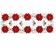 "NWT Cream Red Green Poinsettia Cutout Christmas Holiday Table Runner 36"" Length"