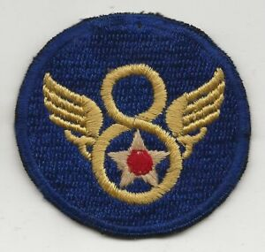 Early English Fully Embroidered Stubby Wing 8th Airforce Shoulder Sleeve Patch