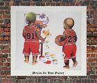 Chicago Bulls Michael Jordan Dennis Rodman 90s BULLS IN THE PAINT Litho Print