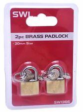 2x 20mm Heavy Duty Brass Padlock Keys Safety Security Shackle Lock