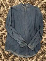 Vintage Versace ClassicV2 Denim Shirt Sz 16 Crazy Buttons 90s