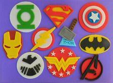 10 edible SUPER HERO MEDIUM 7cm cake topper DECORATION batman superman thor logo