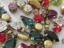 Swarovski Mixed Shapes Single Rhinestones In Settings 50 Crystal Lot Vtg Jewelry