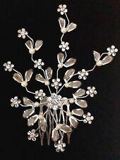 Pearl & Crystal Floral Hair Comb - Prom Bridal Formal Hair Clip Headpiece