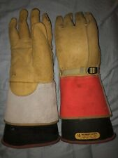 Salisbury 17kv Class 2 Rubber Insulating Gloves Black With Leather Protectors